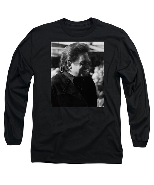 Long Sleeve T-Shirt featuring the photograph Johnny Cash Smiling Old Tucson Arizona 1971 by David Lee Guss