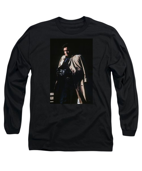 Long Sleeve T-Shirt featuring the photograph Johnny Cash Trench Coat Old Tucson Arizona 1971 by David Lee Guss