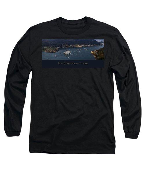 Juan Sebastian Elcano Departing The Port Of Ferrol Long Sleeve T-Shirt