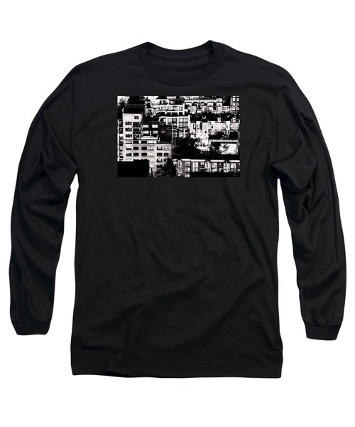 Long Sleeve T-Shirt featuring the photograph Black And White - Juxtaposed And Intimate Vancouver View At Night - Fineart Cards by Amyn Nasser