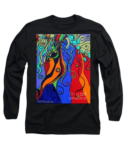 Long Sleeve T-Shirt featuring the painting Kaleidoscope Eyes by Alison Caltrider