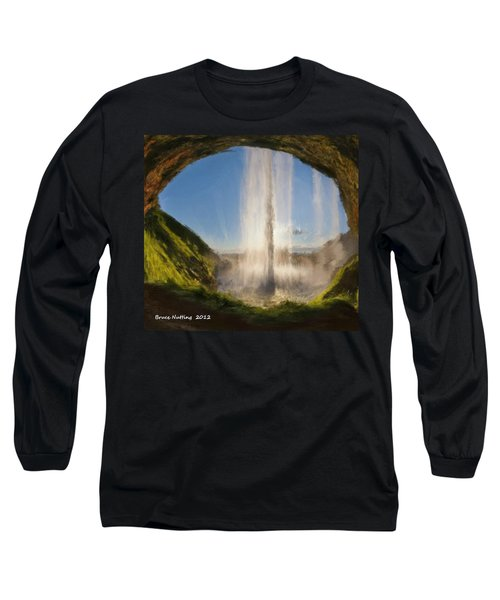 Long Sleeve T-Shirt featuring the painting Karen's Waterfalls by Bruce Nutting