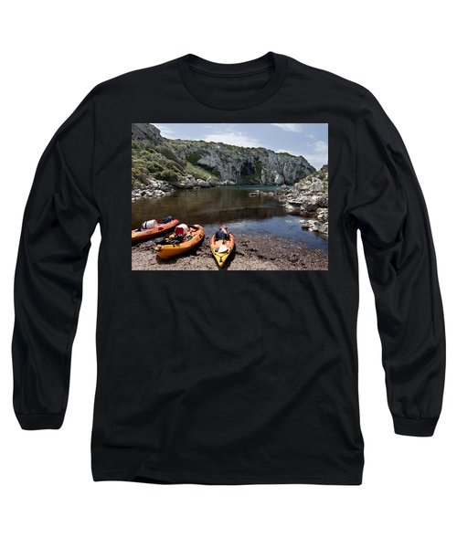 Kayak Time - The Landscape Of Cales Coves Menorca Is A Great Place For Peace And Sport Long Sleeve T-Shirt by Pedro Cardona