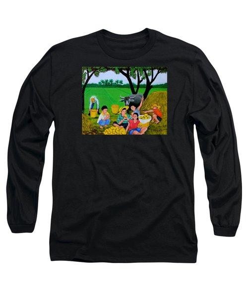 Kids Eating Mangoes Long Sleeve T-Shirt by Cyril Maza