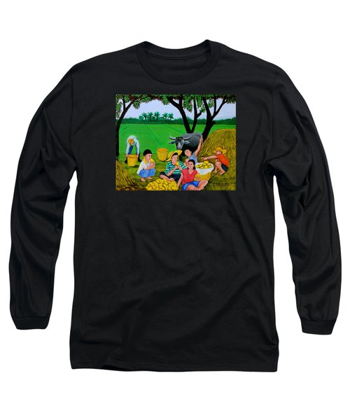 Kids Eating Mangoes Long Sleeve T-Shirt