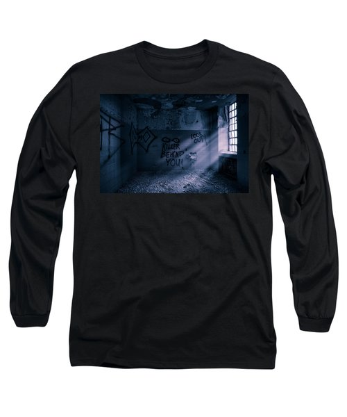 Long Sleeve T-Shirt featuring the photograph Killer Behind You - Abandoned Hospital Asylum by Gary Heller