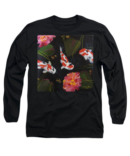 Long Sleeve T-Shirt featuring the painting Kippycash Koi by Judith Rhue