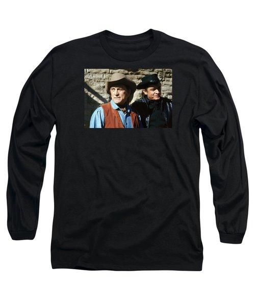 Long Sleeve T-Shirt featuring the photograph Kirk Douglas Johnny Cash A Gunfight  Old Tucson Arizona 1971 by David Lee Guss