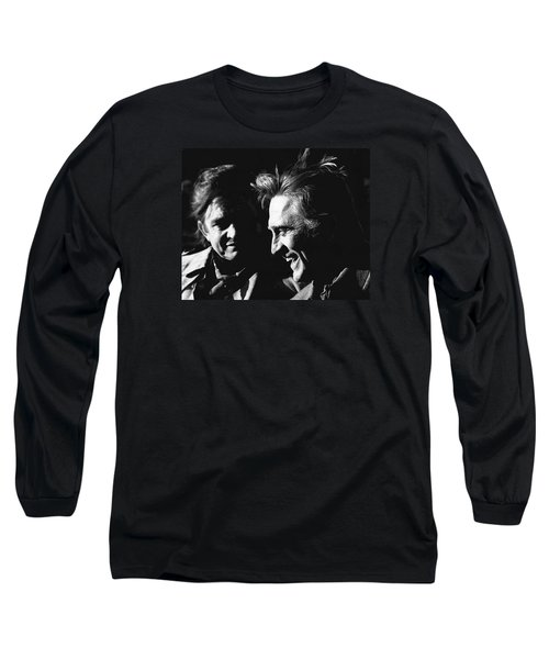 Long Sleeve T-Shirt featuring the photograph Kirk Douglas Laughing Johnny Cash Old Tucson Arizona 1971 by David Lee Guss