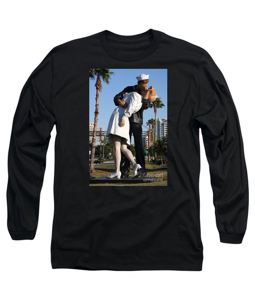 Long Sleeve T-Shirt featuring the photograph Kissing Sailor - The Kiss - Sarasota by Christiane Schulze Art And Photography