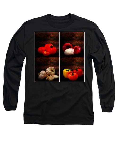Kitchen Ingredients Collage Long Sleeve T-Shirt
