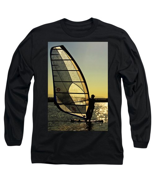 Long Sleeve T-Shirt featuring the photograph Kiteboarder Sunset by Sonya Lang