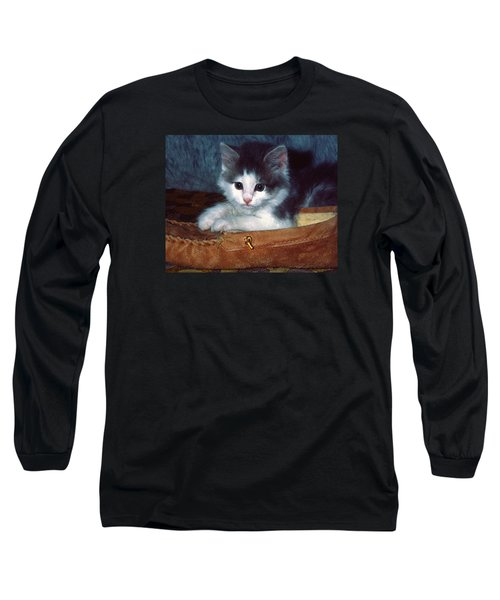 Long Sleeve T-Shirt featuring the photograph Kitten In Slipper by Sally Weigand