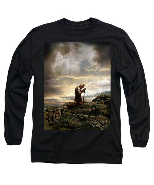 Kneeling Knight Long Sleeve T-Shirt by Jill Battaglia