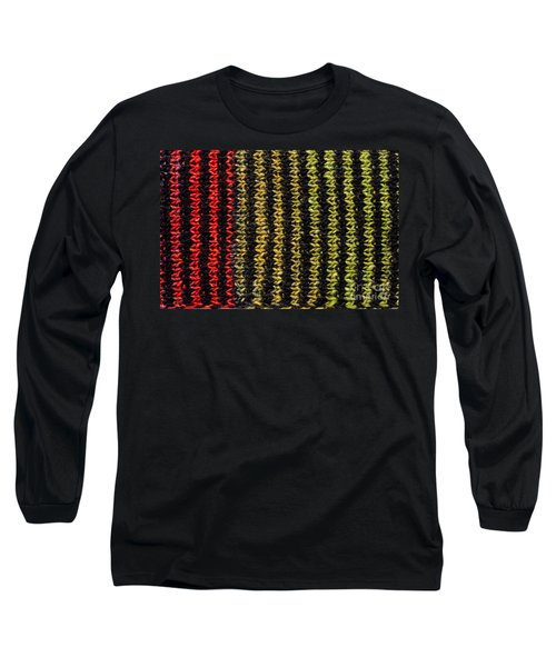 Long Sleeve T-Shirt featuring the photograph Knitted Striped Scarf by Les Palenik