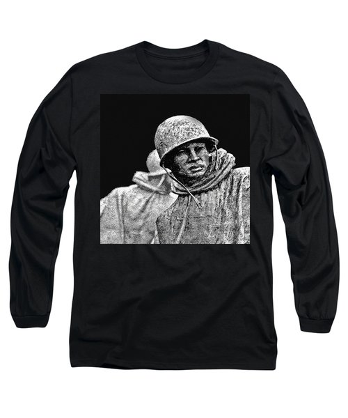Long Sleeve T-Shirt featuring the painting Korean War Veterans Memorial by Bob and Nadine Johnston