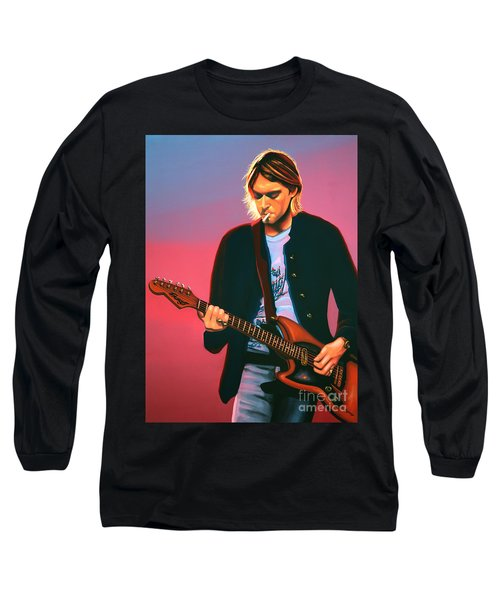 Kurt Cobain In Nirvana Painting Long Sleeve T-Shirt