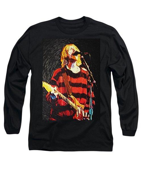 Kurt Cobain Long Sleeve T-Shirt by Taylan Apukovska