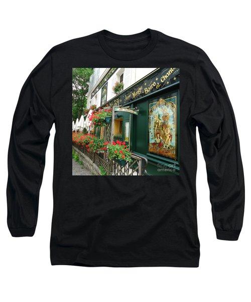 La Terrasse In Montmartre Long Sleeve T-Shirt by Barbie Corbett-Newmin