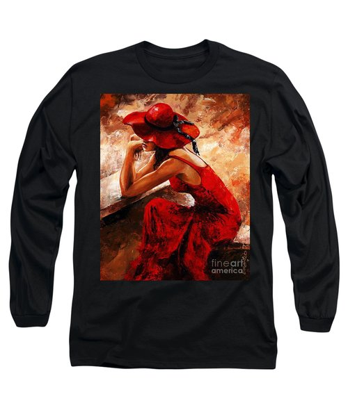 Lady In Red 21 Long Sleeve T-Shirt by Emerico Imre Toth