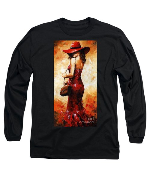 Lady In Red  30 Long Sleeve T-Shirt by Emerico Imre Toth
