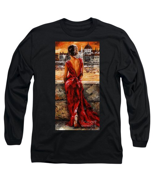 Lady In Red  34 -  I Love Budapest Long Sleeve T-Shirt by Emerico Imre Toth