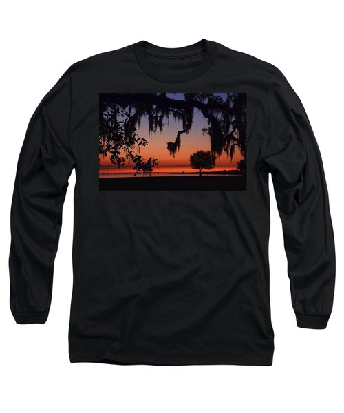 Lakefront Sunset Long Sleeve T-Shirt by Charlotte Schafer
