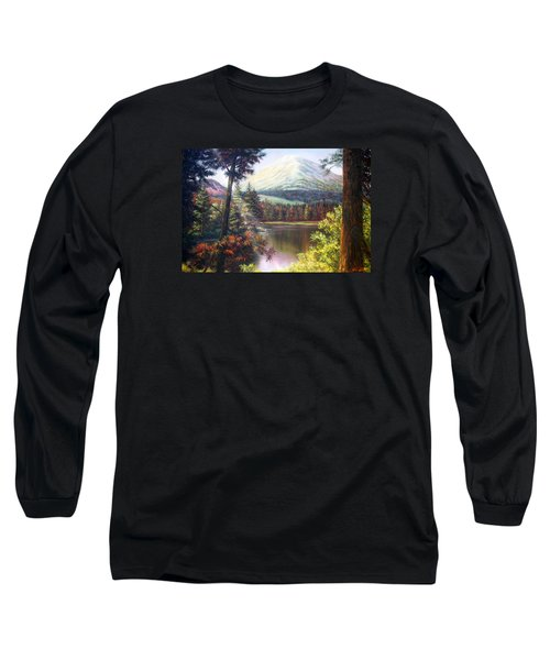 Landscape-lake And Trees Long Sleeve T-Shirt by Loxi Sibley