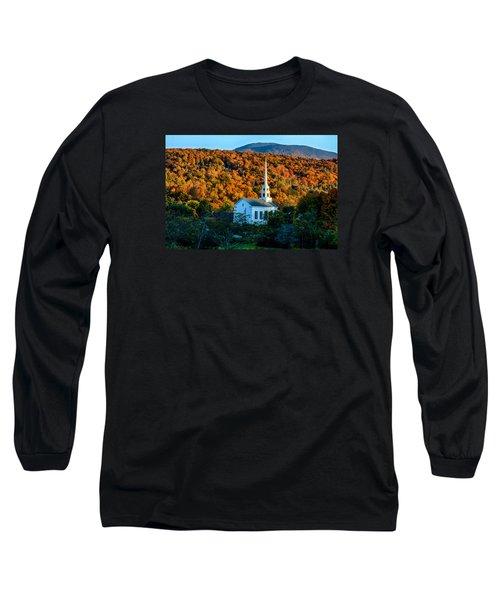 Last Rays Of Autumn Sun On Stowe Church Long Sleeve T-Shirt by Jeff Folger