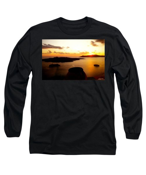 Late Sunset Santorini  Island Greece Long Sleeve T-Shirt