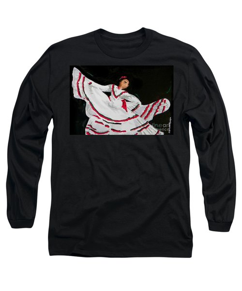 Long Sleeve T-Shirt featuring the painting Latin Dancer by Marisela Mungia