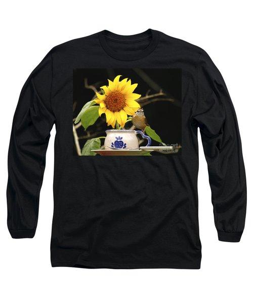 Long Sleeve T-Shirt featuring the photograph Carolina Wren Bird And Tea Cup by Luana K Perez