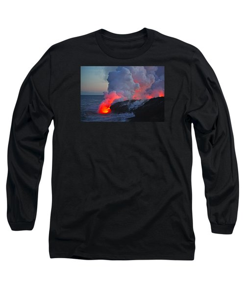 Lava Flow At Sunset In Kalapana Long Sleeve T-Shirt