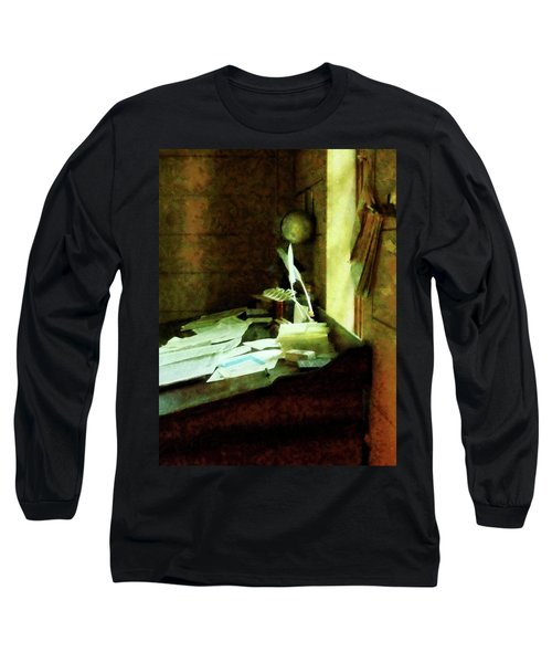 Long Sleeve T-Shirt featuring the photograph Lawyer - Desk With Quills And Papers by Susan Savad
