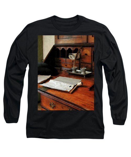 Long Sleeve T-Shirt featuring the photograph Lawyer - Quill Papers And Pipe by Susan Savad