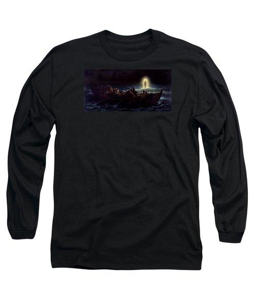 Le Christ Marchant Sur La Mer Long Sleeve T-Shirt by Amedee Varint