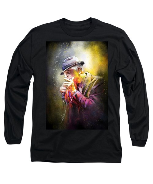 Leonard Cohen 02 Long Sleeve T-Shirt by Miki De Goodaboom