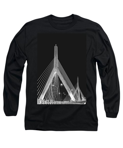 Long Sleeve T-Shirt featuring the photograph Leonard P. Zakim Bunker Hill Memorial Bridge Bw II by Susan Candelario