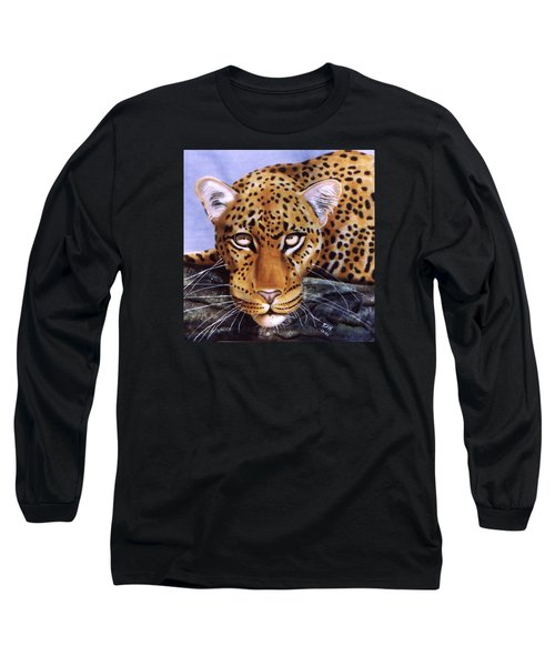 Leopard In A Tree Long Sleeve T-Shirt by Thomas J Herring