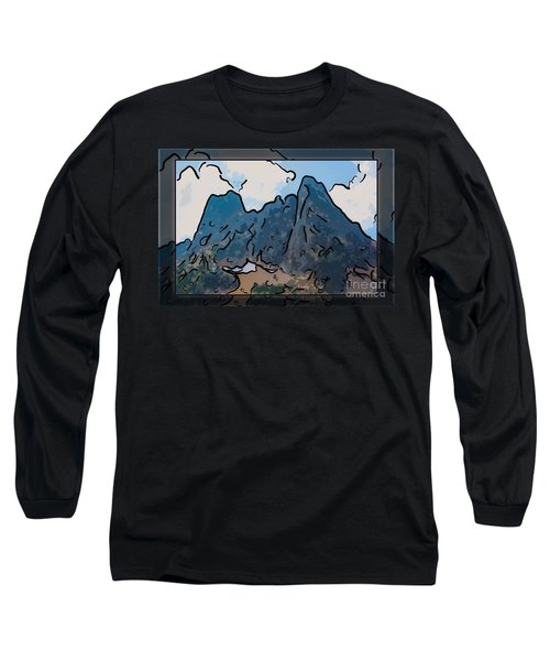 Long Sleeve T-Shirt featuring the painting Liberty Bell Mountain Abstract Landscape Painting by Omaste Witkowski