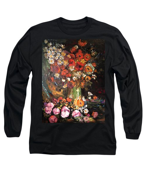 Long Sleeve T-Shirt featuring the painting Life Is Like A Vase Of Flowers by Belinda Low