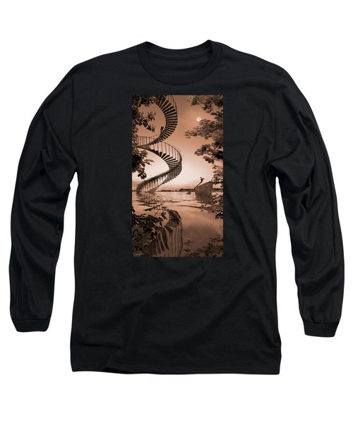 Long Sleeve T-Shirt featuring the digital art Life Without Stairs by Shinji K