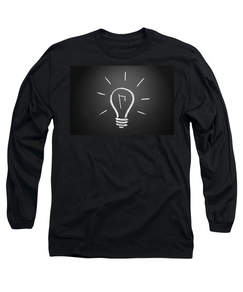 Light Bulb On A Chalkboard Long Sleeve T-Shirt