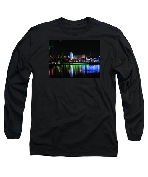 Light Reflections At Night Long Sleeve T-Shirt by Kathy Long