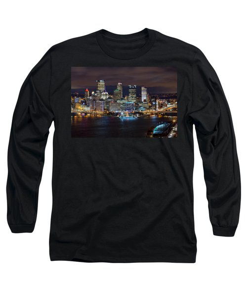 Light Up Night Pittsburgh 3 Long Sleeve T-Shirt by Emmanuel Panagiotakis