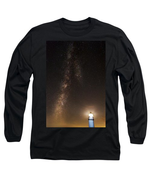 Lighthouse And Milky Way Long Sleeve T-Shirt