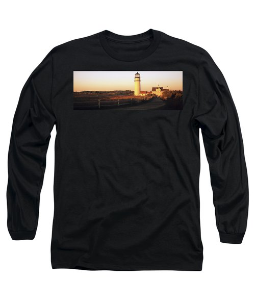 Lighthouse In The Field, Highland Long Sleeve T-Shirt