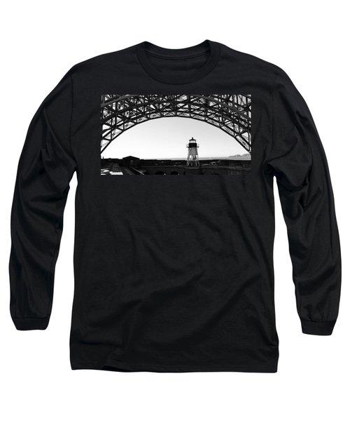 Lighthouse Under Golden Gate Long Sleeve T-Shirt by Holly Blunkall