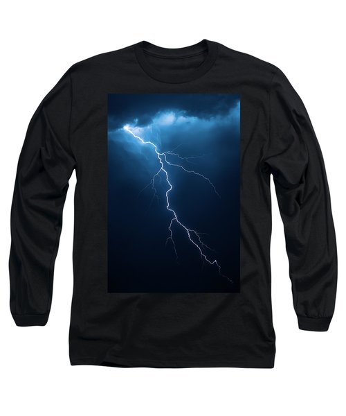 Lightning With Cloudscape Long Sleeve T-Shirt by Johan Swanepoel