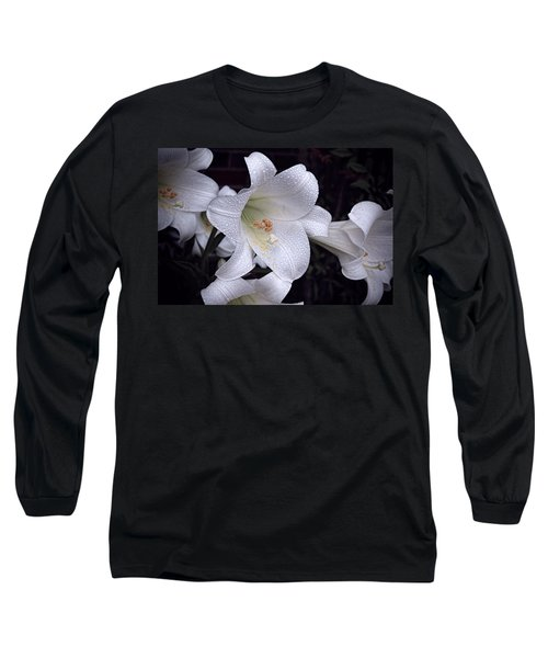 Lily With Rain Droplets Long Sleeve T-Shirt
